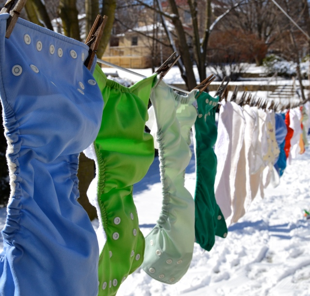 Cloth diapers hanging out in the sun
