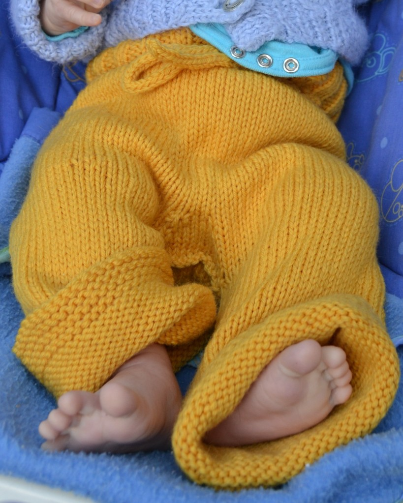Remy in yellow longies soaker pants