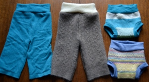 cloth diapers - wool soakers made from old felted sweaters
