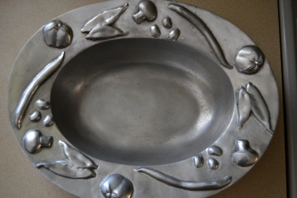 Stained discolored stainless steel bowl