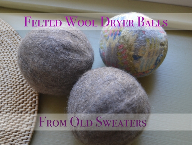 felted dryer balls from old sweaters