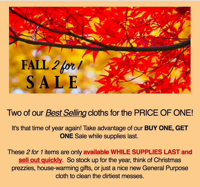 ecloth fall sale